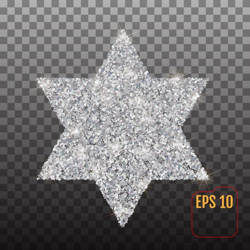 Davidsstern Silbersymbol auf einem transparenten Hintergrund stock abbildung