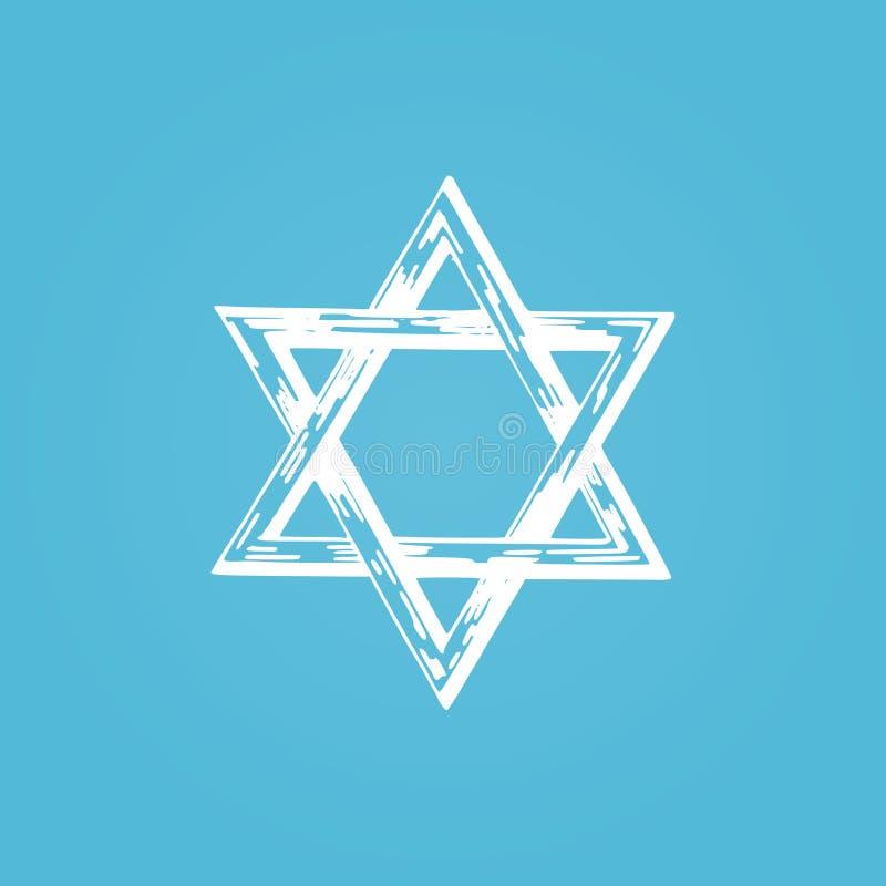 Davidsstjärna hand dragen illustration Judiskt religionsymbol i vektor stock illustrationer