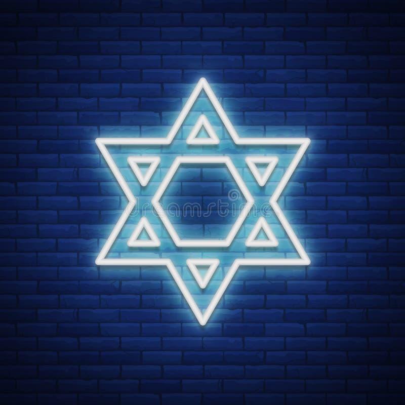 Davidsstjärna neontecken Symbolet av judendom också vektor för coreldrawillustration royaltyfri illustrationer