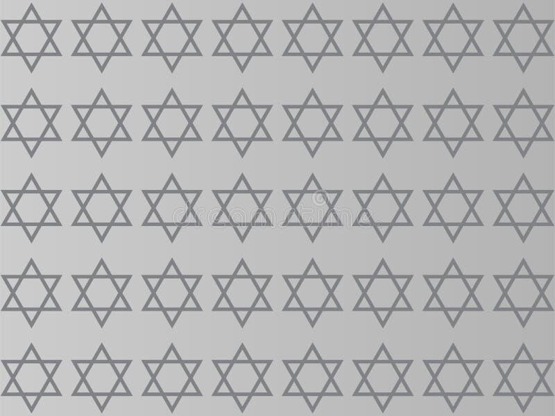 Davidsstjärna på en grå bakgrund stock illustrationer