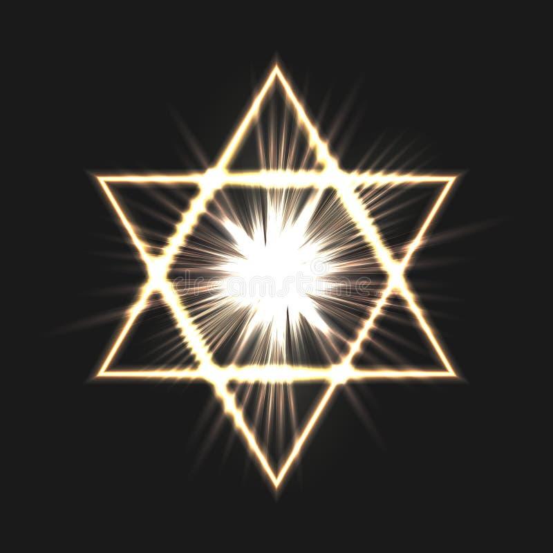 Davidsstjärna på en mörk bakgrund royaltyfri illustrationer