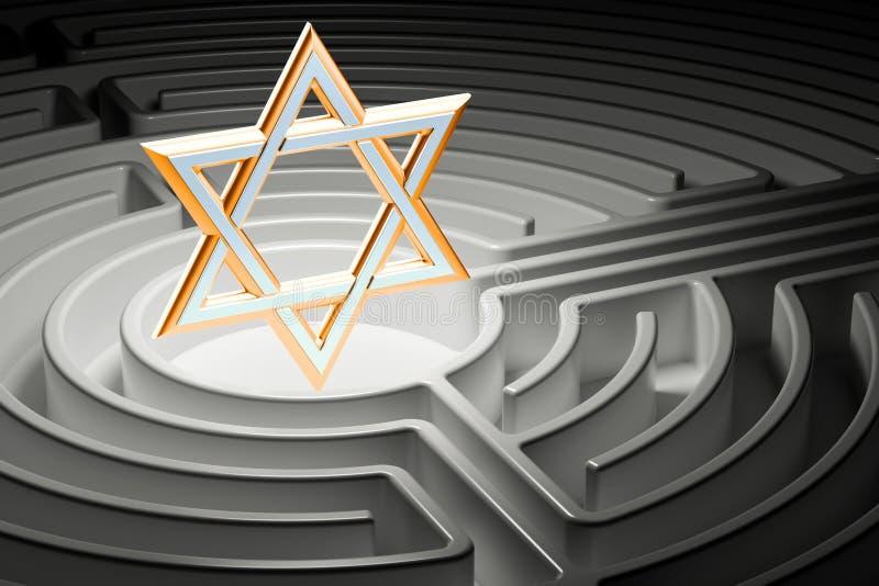 Davidsstjärna på mitten av en labyrint, väg till religionbegreppet royaltyfri illustrationer