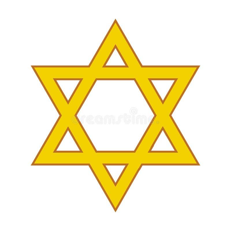Davidsstjärna religiöst symbol också vektor för coreldrawillustration royaltyfri illustrationer