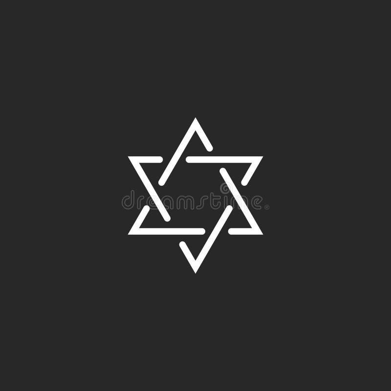 Davidsstjärnamonogramlogo, hexagram av den tunna linjen som ett judiskt symbol stock illustrationer