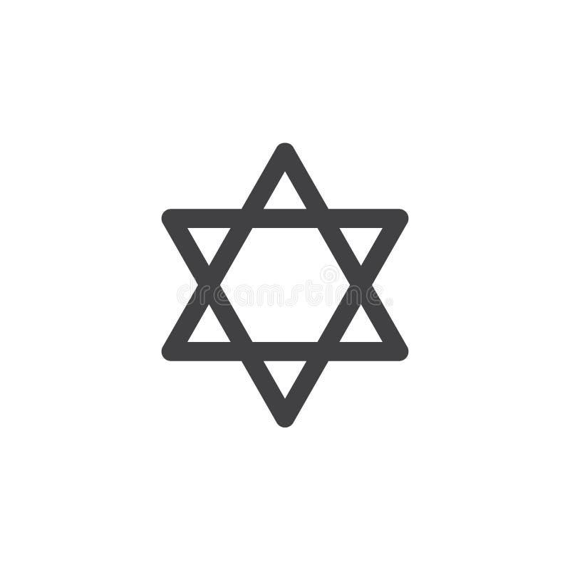 Davidsstjärnasymbolsvektor, fyllt plant tecken, fast pictogram som isoleras på vit vektor illustrationer