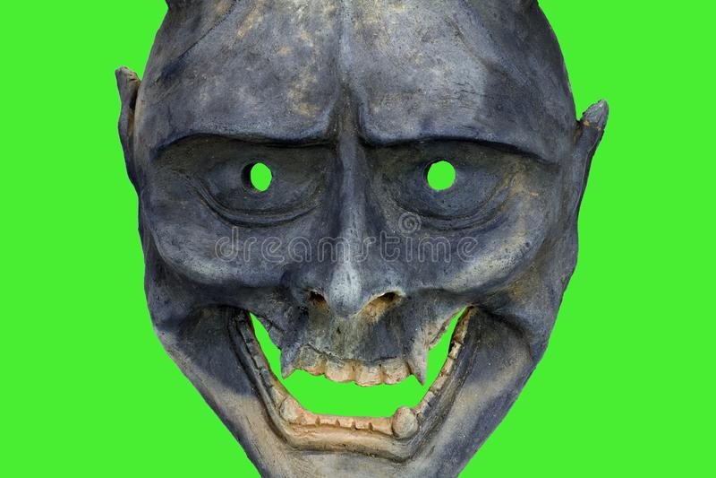 Davil Japan maska na zieleni sgreen, kabuki wykonuje obrazy royalty free
