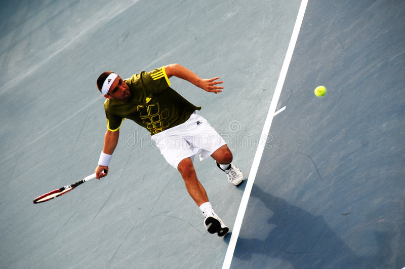 Davis Cup tennis tournament with Markos Pagdatis stock photography