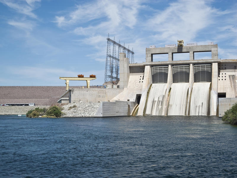 Davis Dam on the Colorado River. Davis Dam forms Lake Mohave on the Colorado River stock images
