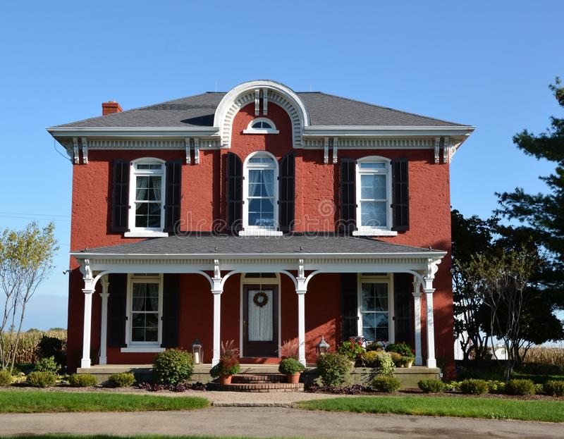 Davis Italianate. This is a Fall picture of a house located in Davis, Illinois. The house built in 1897 is an example of Italianate architecture. The picture was royalty free stock photography