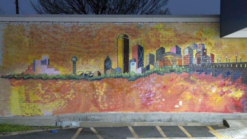 Davis Street Dallas Skyline Mural, obispo Arts District, Dallas, Tejas foto de archivo