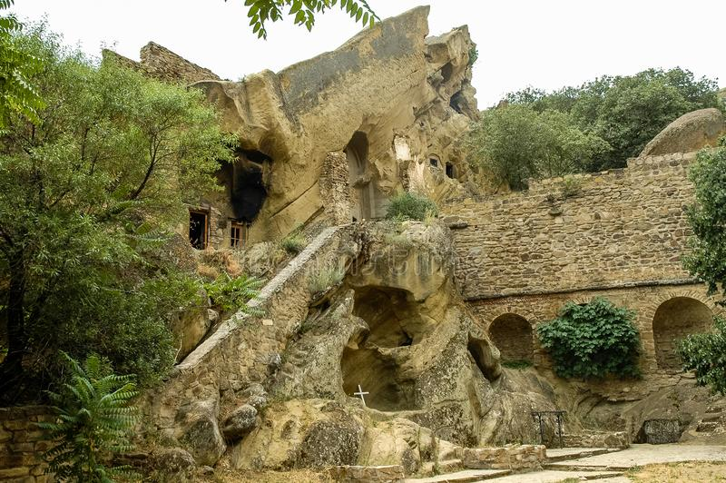 Cave dwellings, Davit Gareji monastery. Davit Gareji monastery complex, Kakheti region, Georgia. Underground cave dwellings royalty free stock images