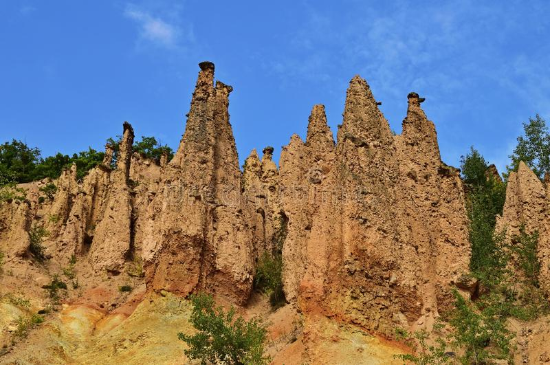 Devil`s Town is a peculiar rock formation, located in south Serbia stock photo