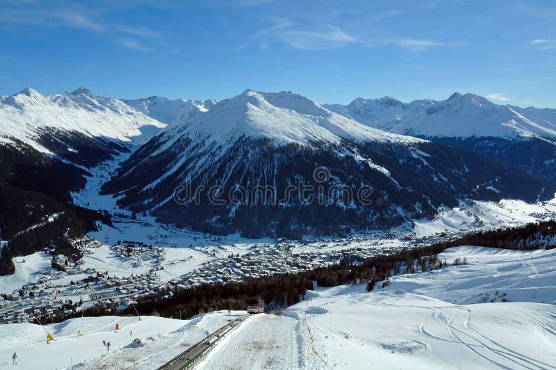 Davos. Alpine ski resort in Switzerland stock photo