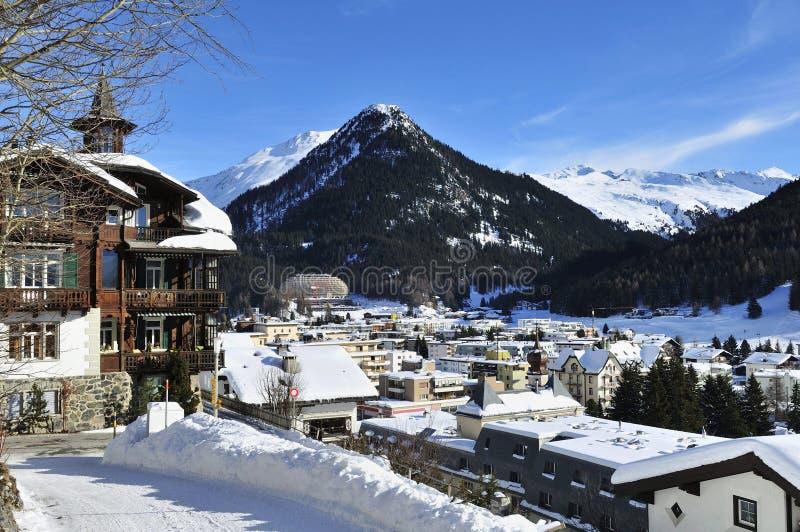 Davos. The mountain winter scenery in Davos city - Switzerland stock image