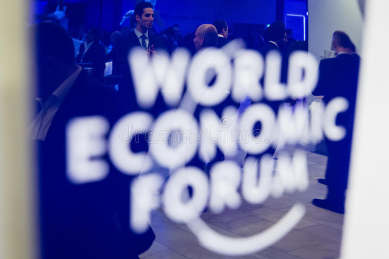 Davos World Economic Forum Annual som möter 2015 royaltyfri bild