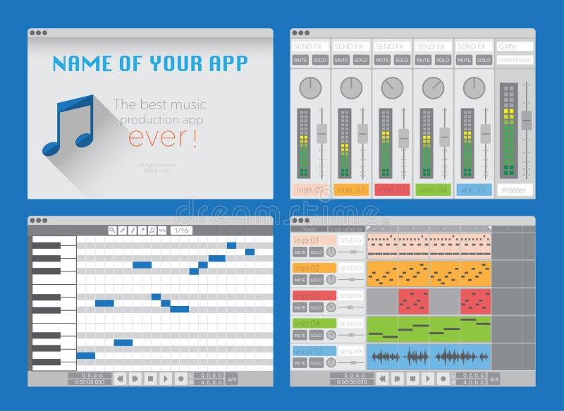 DAW, software de la producción de la música stock de ilustración