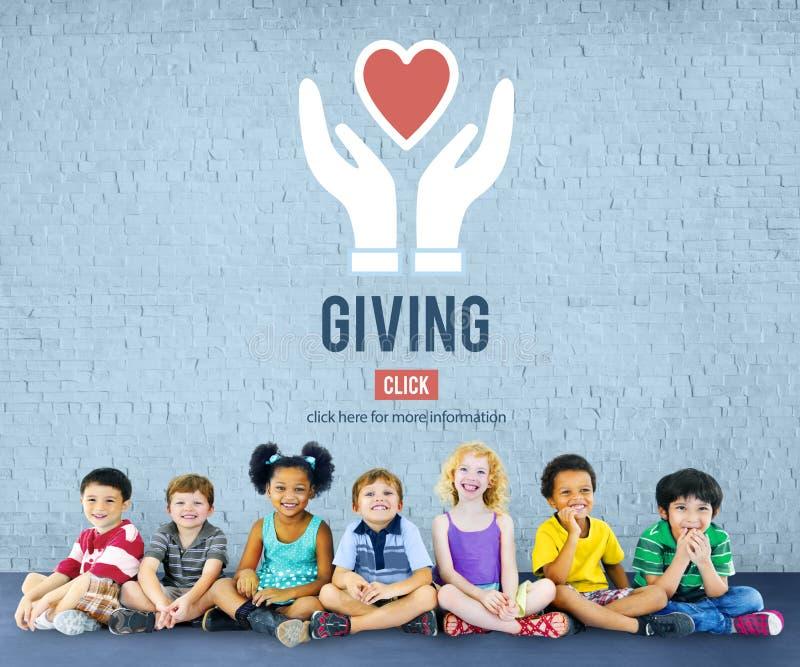 Dawać Daje pomocy pomocy poparcia dobroczynność Zadawala pojęcie obraz stock
