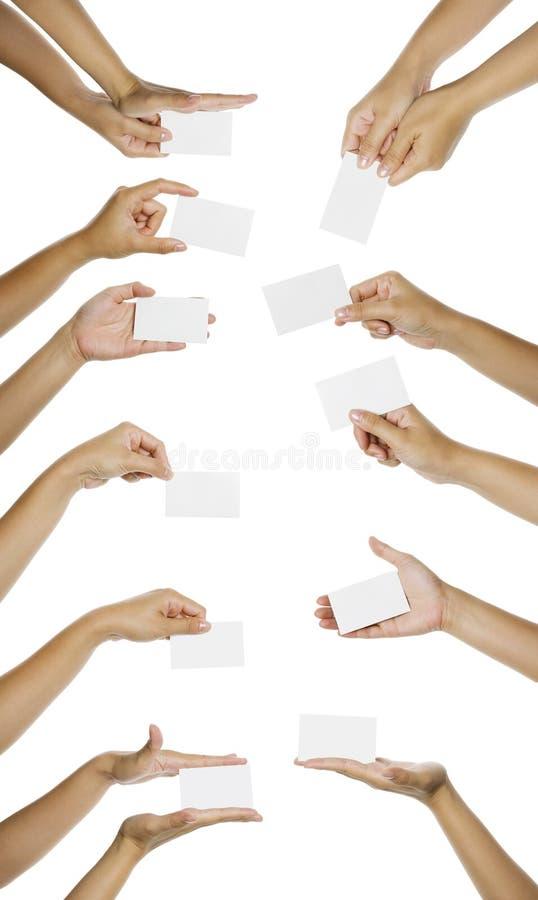 dawać namecard ręka wizerunkom zdjęcie stock