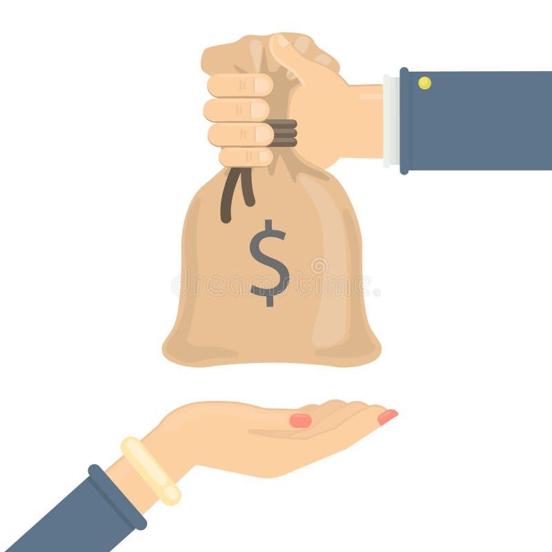 Dawać pieniądze torbie ilustracji