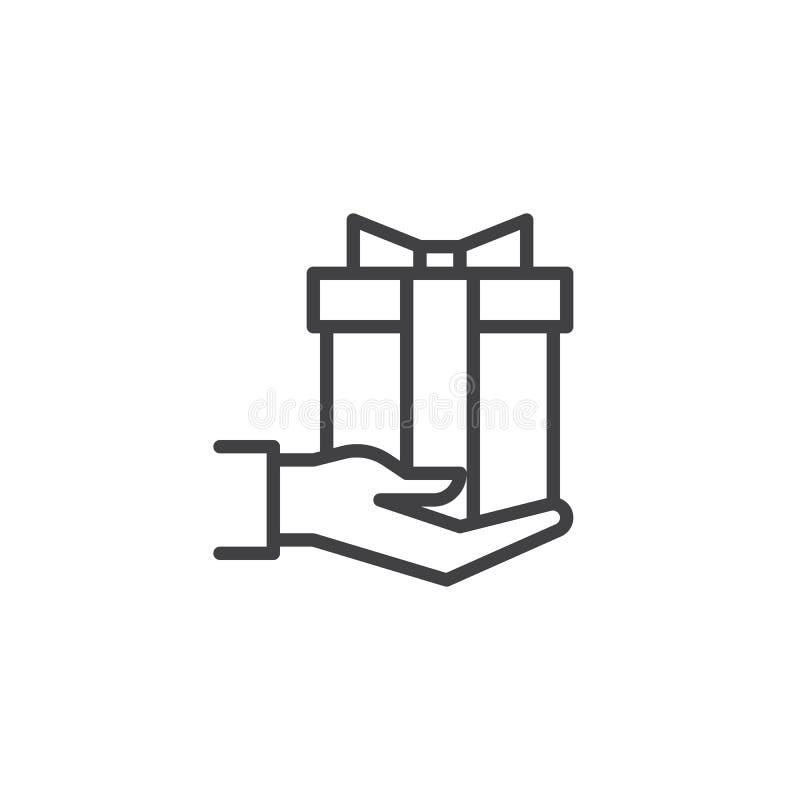 Dawać prezenta konturu ikonie ilustracja wektor