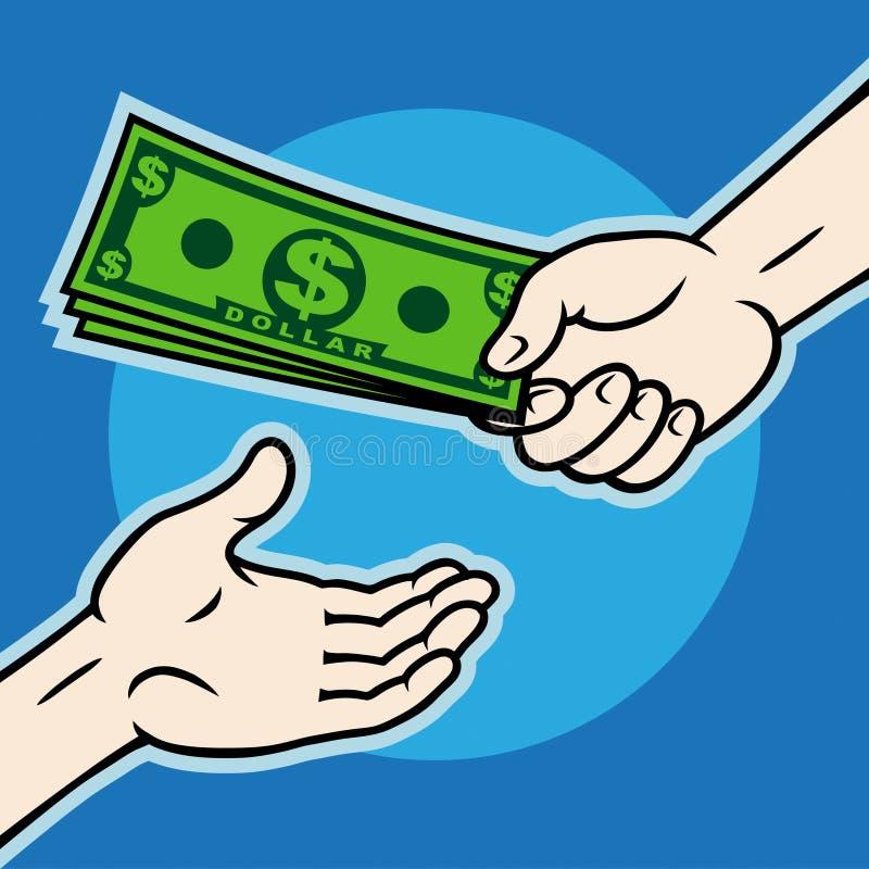 dawać ręka pieniądze ilustracji