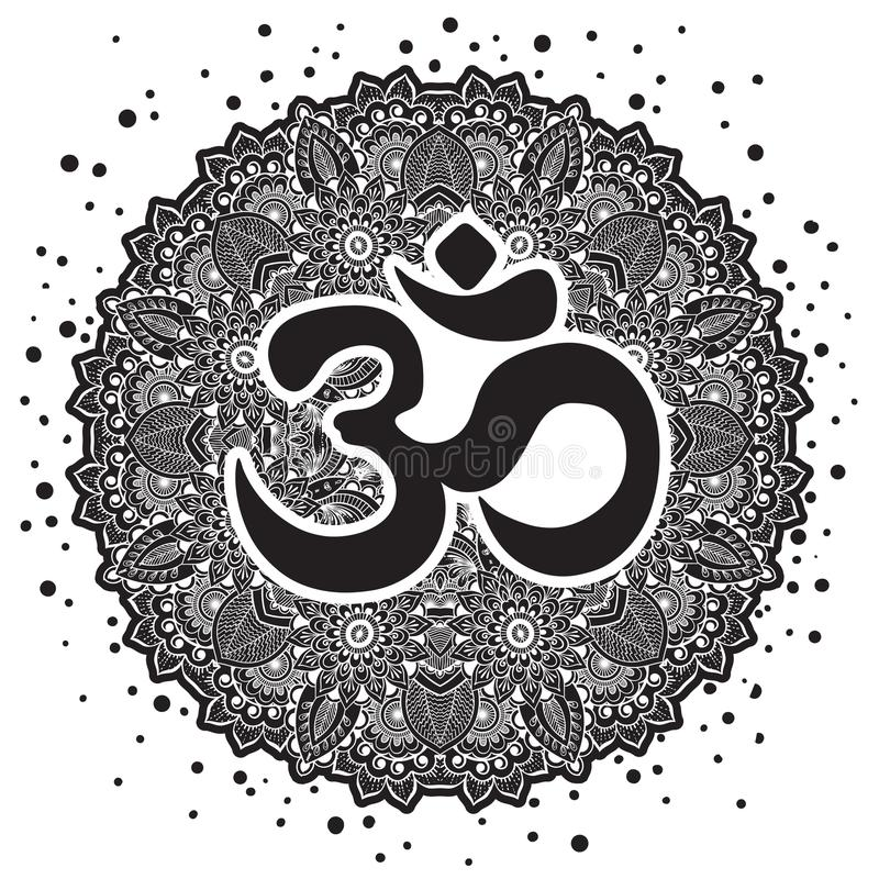 Dawali spiritual sign Om with high-detailed round Mandala. Black and white beautiful vector art. Print, tattoo element, yoga. stock illustration