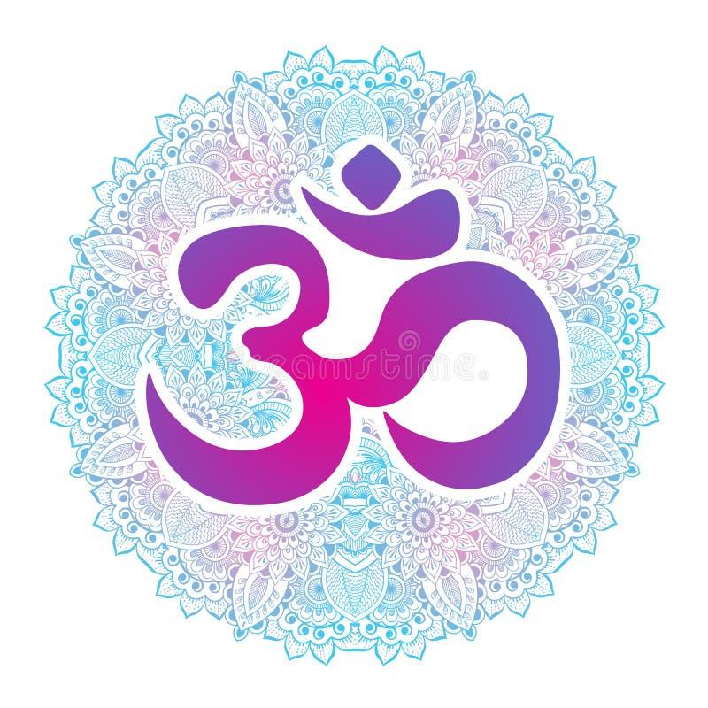Dawali spiritual sign Om with high-detailed round Mandala. Hand drawn beautiful vector artwork. Print, tattoo element, yoga. stock illustration