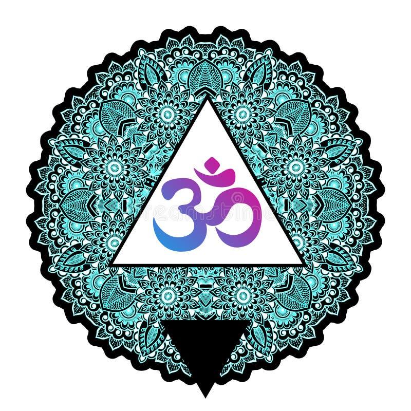 Dawali spiritual sign Om inside triangle with high-detailed round Mandala pattern. Beautiful indian vector art. Print, tattoo art. vector illustration