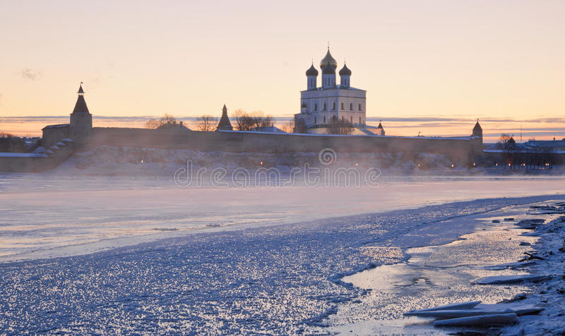Dawn at the ancient city of Pskov Kremlin. January 5, 2017, at the dawn of the Great River on the background of the Kremlin in Pskov stock photos