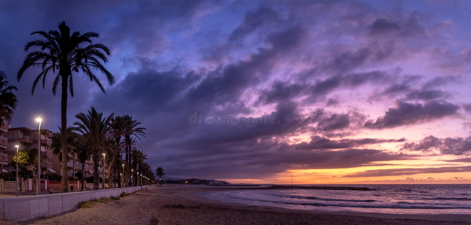 Dawn at the beach. Mediterranean. royalty free stock photography