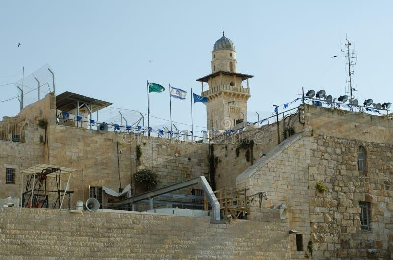 Dawn bij de Oude Oost-west Grens van Jeruzalem stock foto's