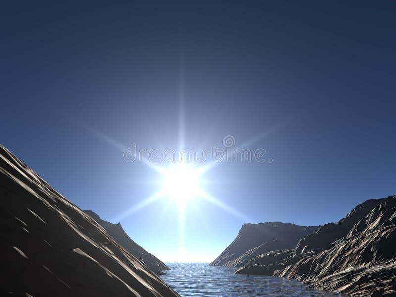 Dawn bij river_2 royalty-vrije illustratie