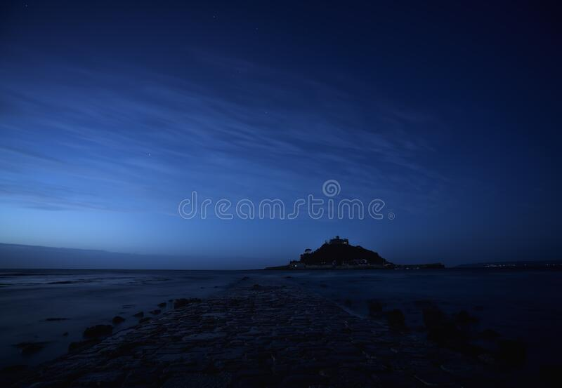 Dawn breaking at St Michael`s Mount, Mounts Bay, Cornwall stock photos