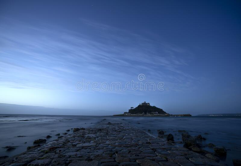 Dawn breaking at St Michael`s Mount, Mounts Bay, Cornwall royalty free stock photos