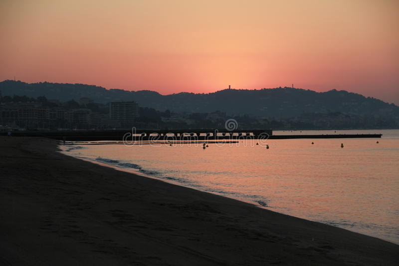 Dawn in Cannes royalty-vrije stock afbeelding