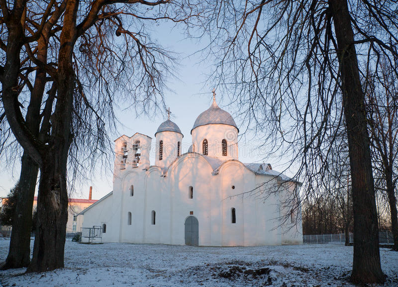 Dawn at the Cathedral of St. John the Baptist in Pskov.  January 5, 2017, at the dawn of the Cathedral of St. John the Baptist in the city of Pskov, 12th stock photo