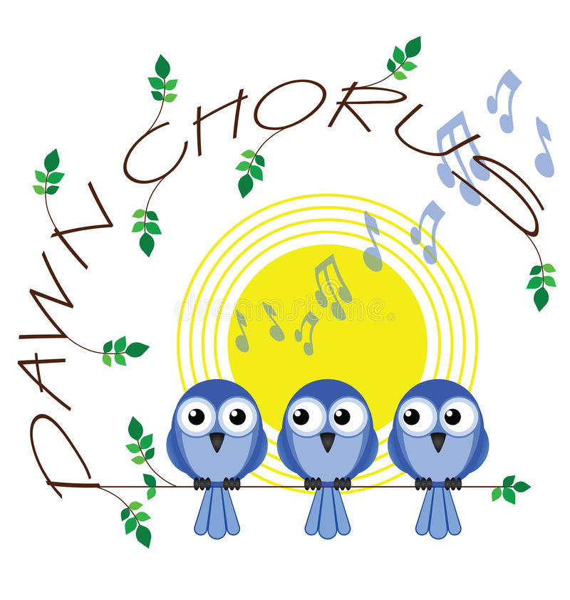 Dawn chorus. Twig text isolated on white background vector illustration