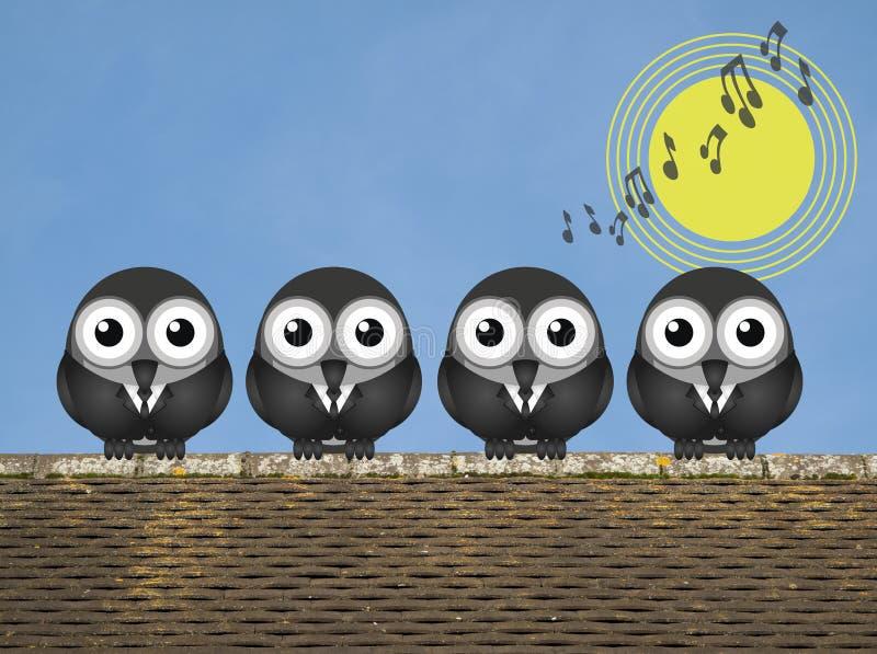 Dawn Chorus. Comical bird boy band singing the dawn chorus perched on a rooftop against a clear blue sky royalty free illustration