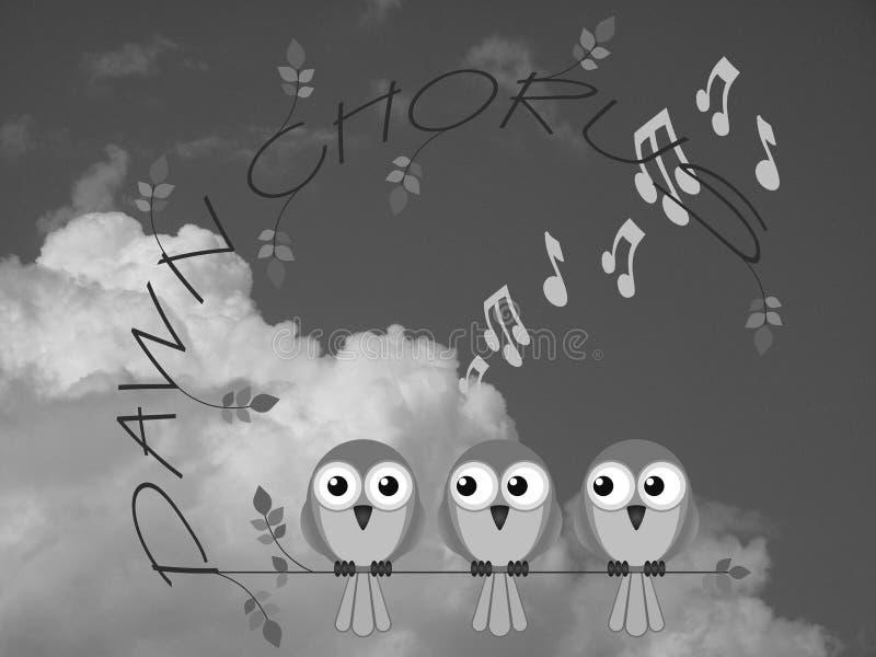 Dawn chorus. Monochrome bird dawn chorus twig text against a cloudy sky stock illustration