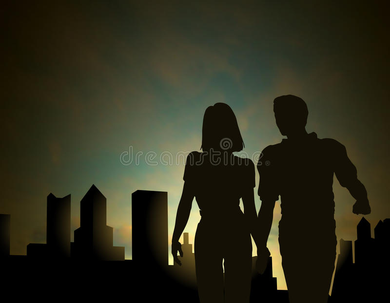 Dawn city vector illustration