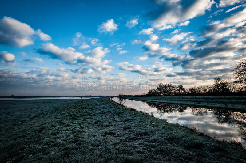 Dawn and clouds over Fenland stock photography