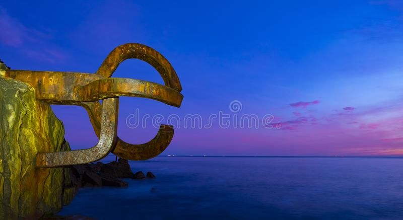 Dawn in the Comb of the Wind Peine del Viento in Spanish in San Sebastian stock photo