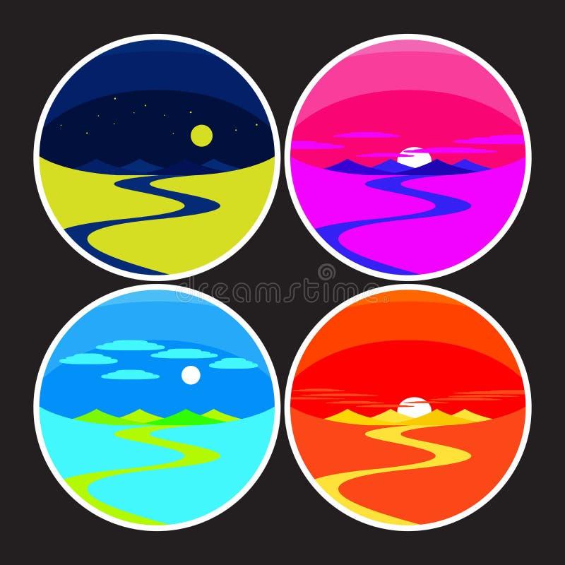 Dawn Day Sunset e paisagem da noite ilustração stock
