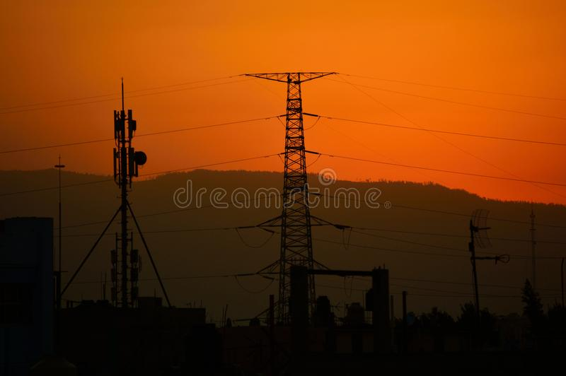 Dawn, Dusk, Electricity royalty free stock images