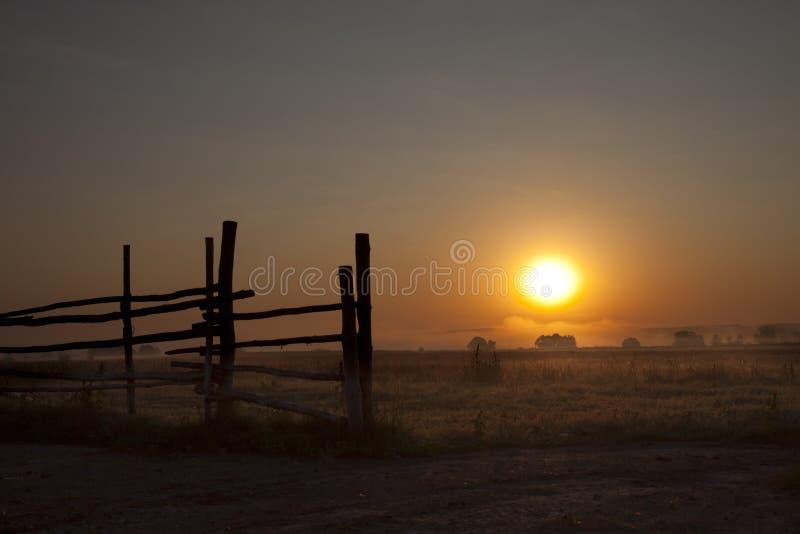 Dawn in een mist stock afbeelding