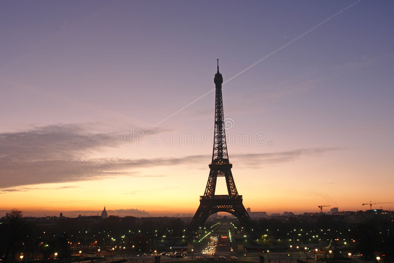 Dawn on eiffel tower stock photos