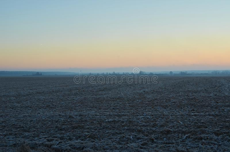 Dawn in the field in January 2018 on a cornfield royalty free stock photography