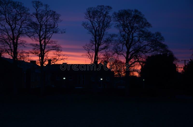 Dawn on field in sandbach, cheshire, england. United kingdom stock photography
