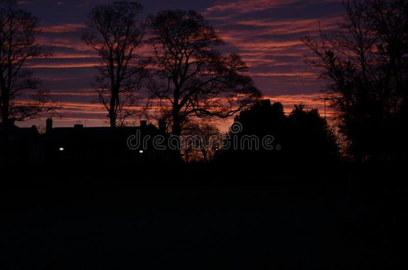 Dawn on field in sandbach, cheshire, england. United kingdom royalty free stock photo