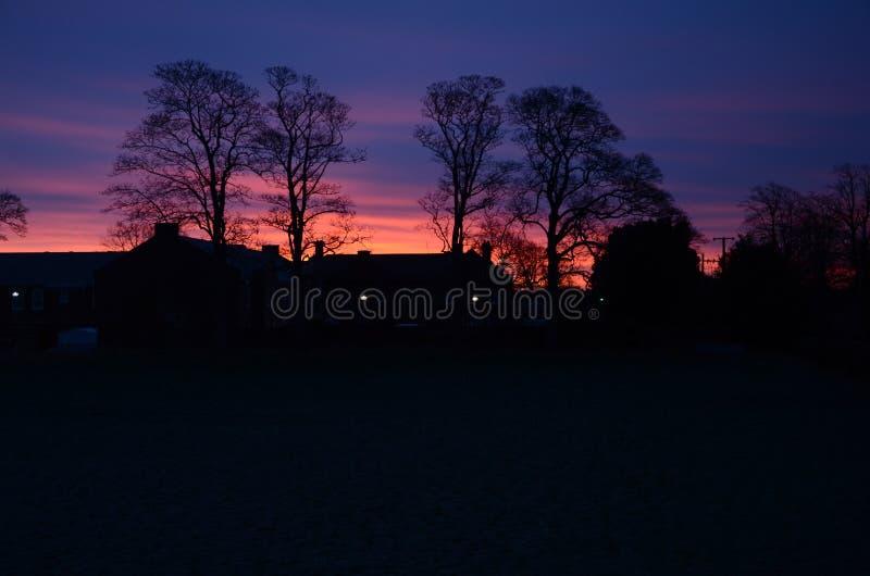 Dawn on field in sandbach, cheshire, england. United kingdom stock photos